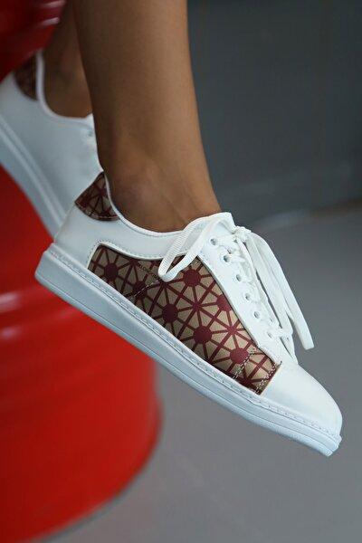 Kadın Beyaz-Bordo Spor Ayakkabı