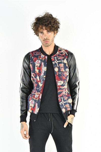 Erkek Renkli Desenli Deri Görünümlü Fermuarlı Lacivert Ceket
