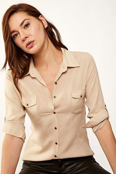 Kadın Bej Çift Kapak Cepli Gömlek 3428