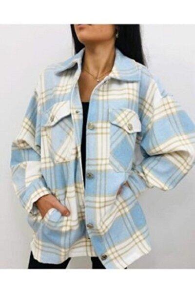 Kadın Mavi Ekoseli Oduncu Gömlek