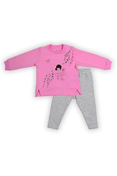 Pierre Cardin Çiçekli Kız Taytlı Bebek Takımı Pembe-gri