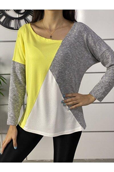 Kadın Sarı Yeni Model Asimetrik Yaka Bloklu Bluz