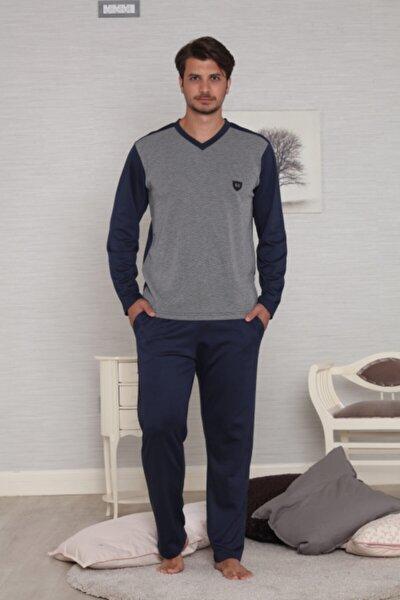 Lacivert Uzun Kollu Jakarlı Pamuk Penye Kışlık Erkek Pijama Takımı