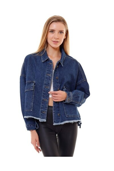 Kadın Mavi Denim Mavi Kot Ceket