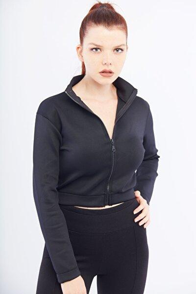 Kadın Siyah Scuba Ceket Cty-abr-5394