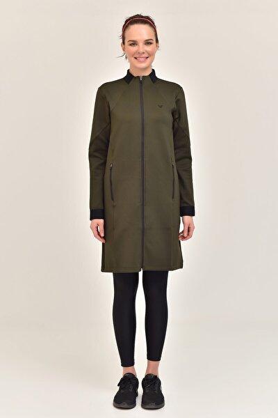 Haki Kadın Uzun Ceket  GS-1516