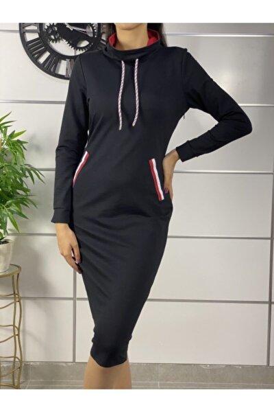 Kadın Siyah Şerit Detay Spor Elbise