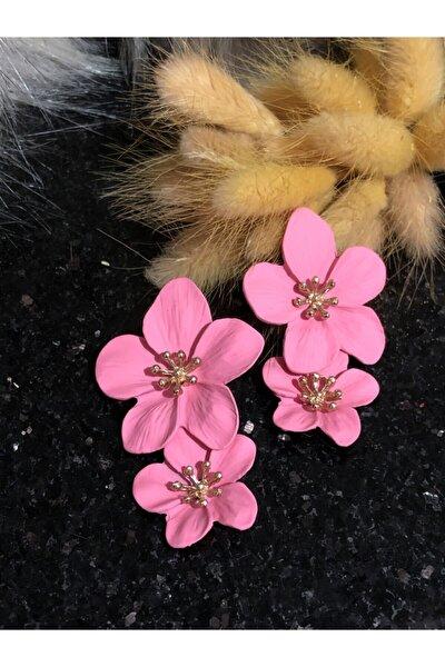 2'li Çiçek Pembe Küpe