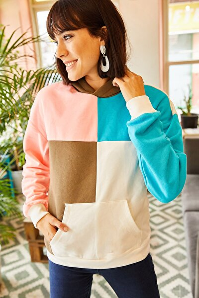 Kadın Ekru Parçalı İçi Polarlı Salaş Sweatshirt SWT-19000296