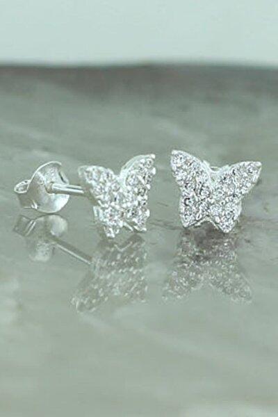 925 Ayar Gümüş Beyaz Taşlı Kelebek Küpe
