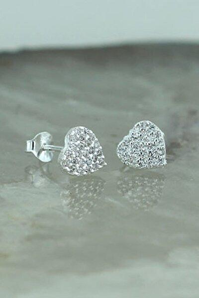 925 Ayar Gümüş Beyaz Taşlı Kalp Küpe