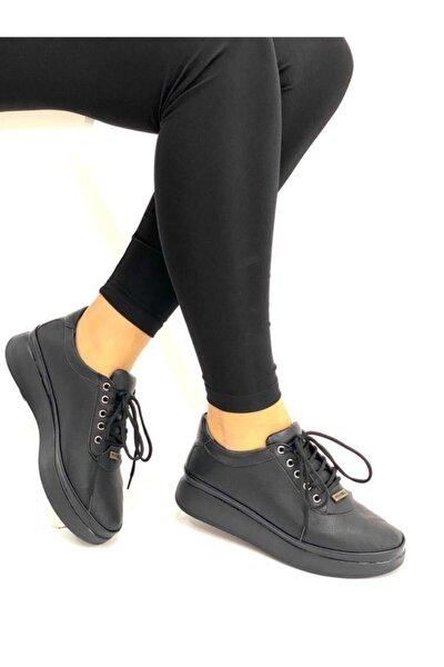Kadın Siyah Bağcıklı Günlük Hakiki Deri Ayakkabı