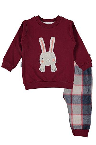 Tavşan Nakışlı, Ekoseli Bebek Pijama Takımı – 9-18 Ay