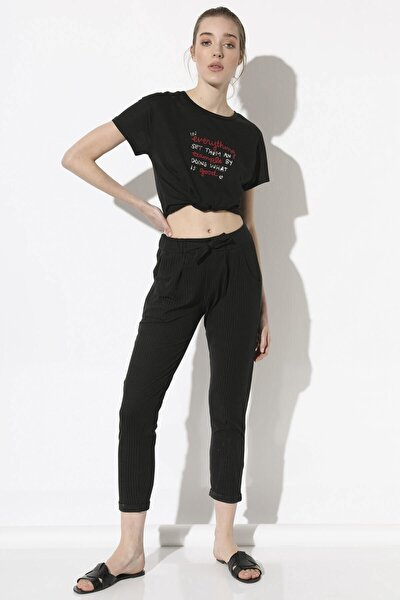 Kadın Siyah Bağcıklı Pantolon