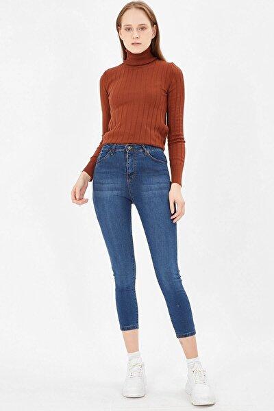 Kadın Taşlanmış Mavi Yüksek Bel Likralı Pantolon