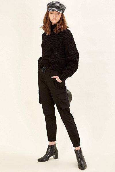 Kadın Siyah Kargo Pantolon