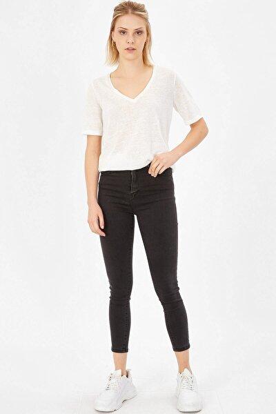 Kadın  Füme Yüksek Bel Likralı Pantolon