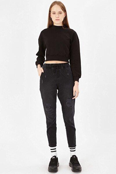 Lastikli Mom Pantolon - Siyah