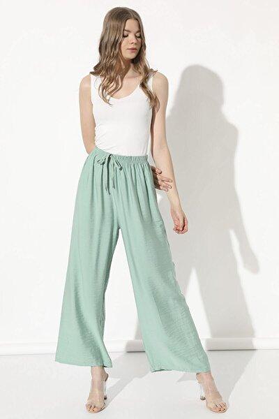 Kadın Mint Beli Lastikli Pantolon