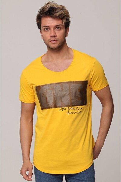 Erkek Sarı Ön Detay One Baskılı T-shirt