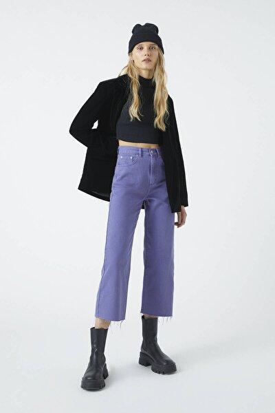 Kadın Mor Crop Straight Fit Pantolon 09672324