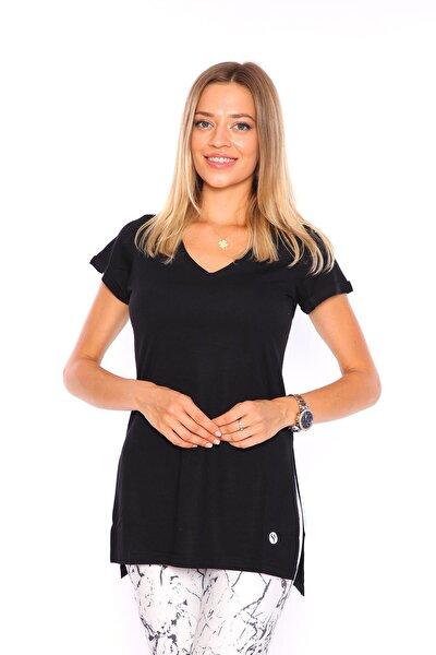 Kadın Siyah V Yaka Yırtmaçlı Tunik Kadın Tshirt