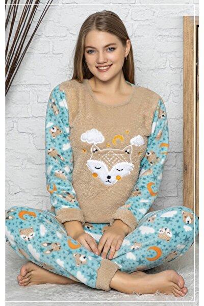 Kadın Kahverengi Welsoft Polar Pijama Takımı