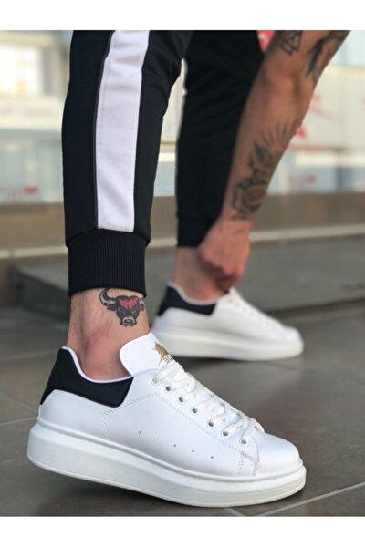 Erkek Beyaz Siyah Bağcıklı Rahat Yüksek Taban Ayakkabı Ba0501