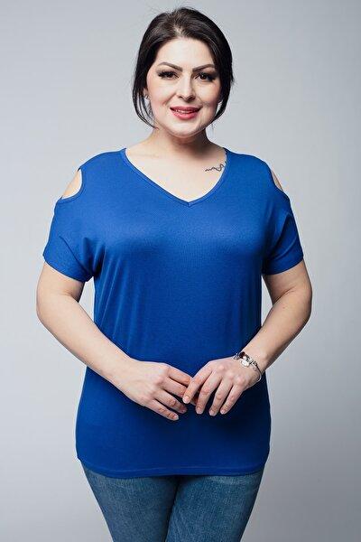 Kadın Mavi Büyük Beden V Yaka Basic Omuz Dekolteli Tişört