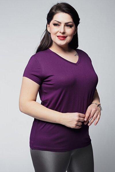 Kadın Mor Büyük Beden V Yaka Basic Kısa Kollu Tişört