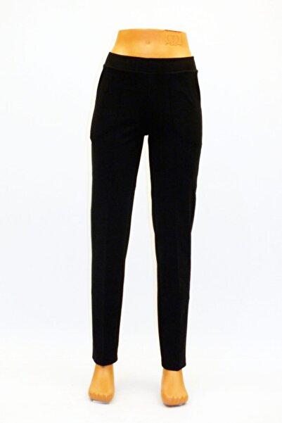 Kadın Siyah Çelik Örgü Önden Ütü Izli Cepli Pantolon