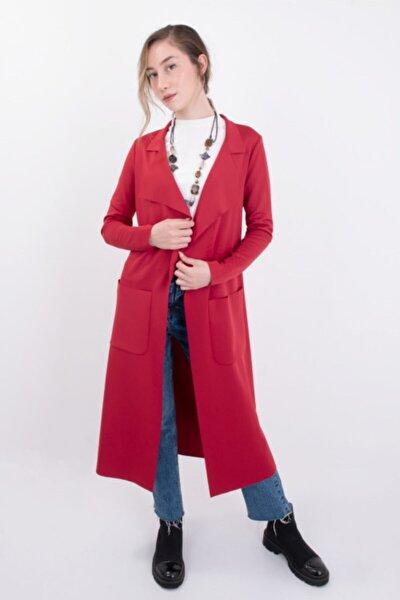 Kadın Kırmızı Mevsimlik Dalgıç Kumaş Beli Bağlamalı Cepli Uzun Scuba Ceket