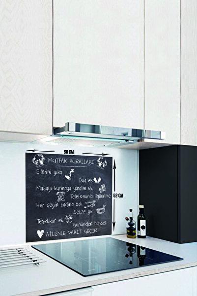 Kara Tahta Görünümlü Mutfak Kuralları   Cam Ocak Arkası Koruyucu   52cm x 60cm