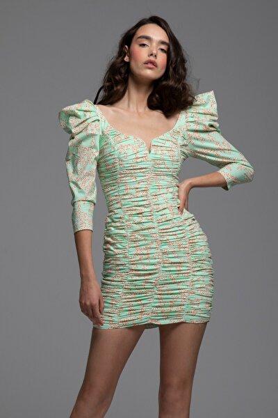Kadın Yeşil Omuz Detaylı Baskılı Mini Elbise