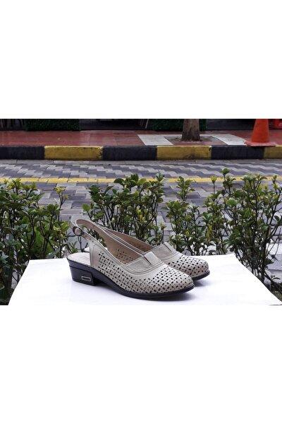Moda Hakiki Deri Krem Sandalet