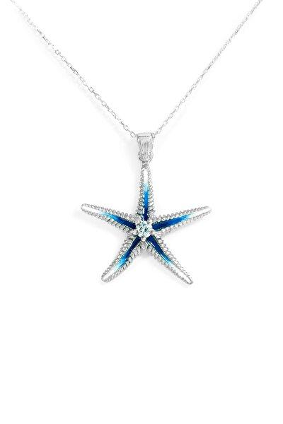 Kadın Mavi Deniz Yıldızı 925 Ayar Gümüş Mineli Kolye Kolye