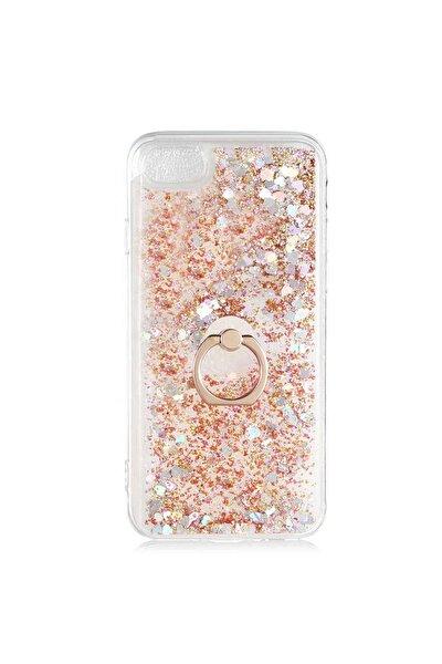 Apple Iphone 7 - 8 Gold Renk Simli Içi Sıvılı Yüzüklü Standlı Silikon Milce Kılıf