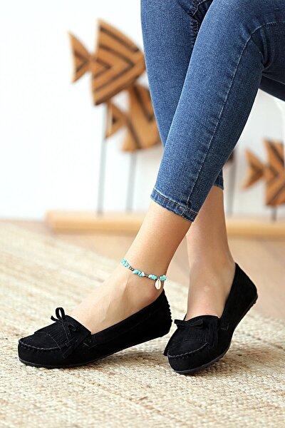 Siyah Püsküllü Kadın Günlük Casual Sneaker Babet Ayakkabı Byndmot03