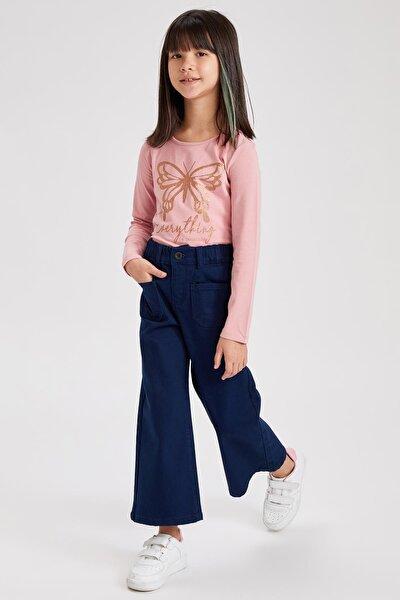 Kız Çocuk Geniş Paça Cepli Pantolon