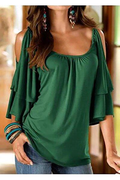 Kadın Viskon Kumaş Omuz Detay Katmanlı Bluz 60 Cm