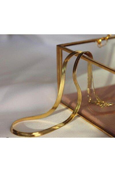 Italyan Yassı Ezme Zincir Vintage Gold Kısa Kombin Kolyesi Altın Kaplama Garanti Belgeli
