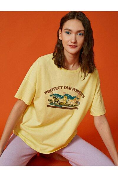 Kadın Sarı Baskili Tisört