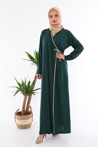 Kadın Yandan Bağlamalı Namaz Elbisesi Zümrüt Yeşili