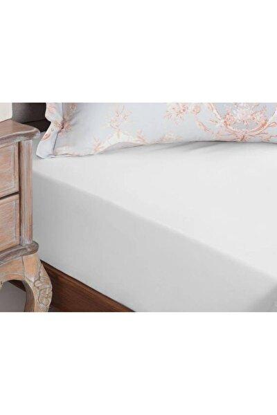 Çift Kişilik Pamuklu Lastikli Penye Çarşaf Beyaz 160 180x200 cm