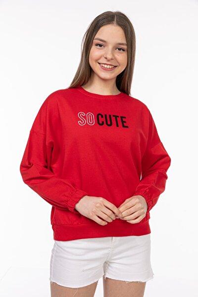 Kadın Düşük Omuzlu So Cute Baskılı Sweatshirt 5416 Kırmızı