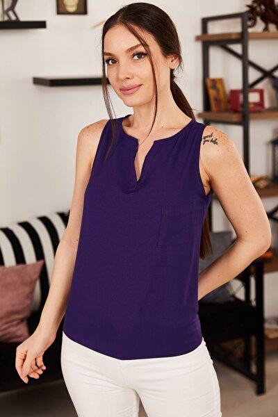 Kadın Mor Yakası Açık Cepli Kolsuz Bluz ARM-18Y003014