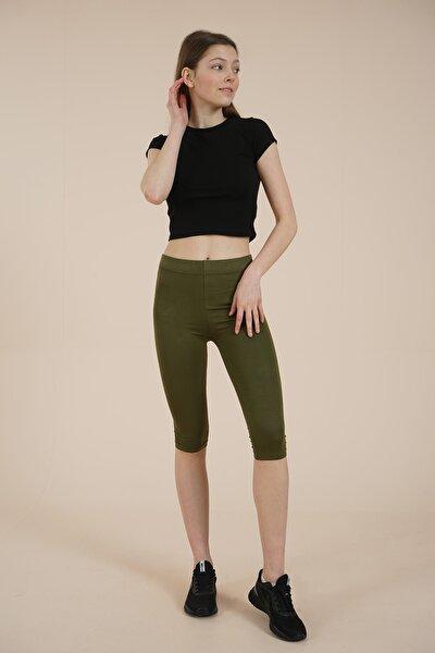 Kadın  Haki Yeşili Diz Altı Tayt