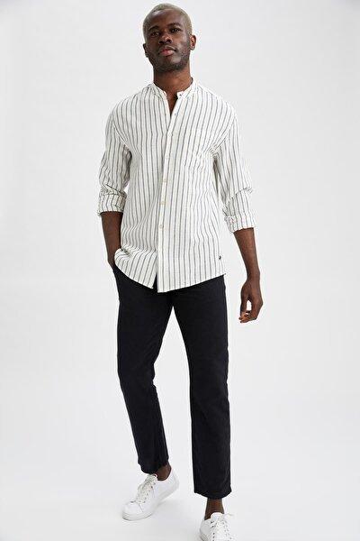 Erkek Siyah Regular Fit Keten Chino Pantolon N4986AZ21SMBK