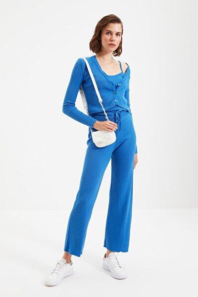 Mavi Fitilli Bluz Hırka Pantolon Triko Alt-Üst Üçlü Takım TWOAW22AU0006