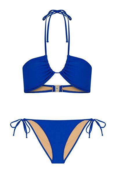 Halter Yaka Saks Bikini Takım